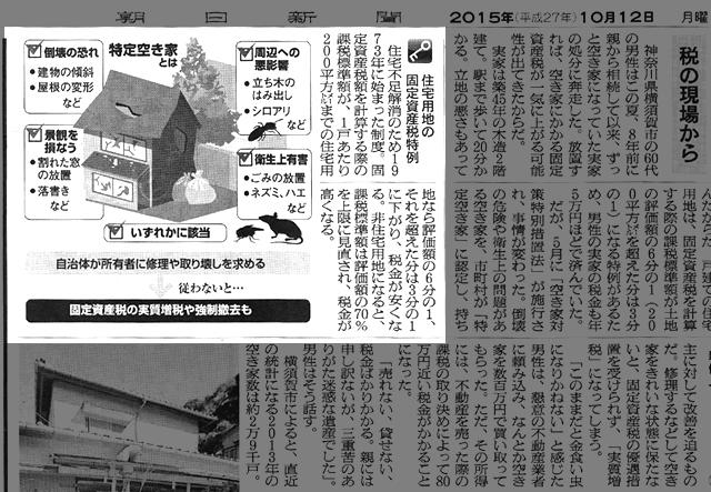 空き家対策特別措置法の新聞記事